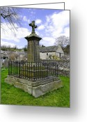 Dry Stone Wall Greeting Cards - Churchyard Memorial - Ashford-in-the Water Greeting Card by Rod Johnson