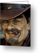 Cowboy Greeting Cards - Cigar Store Cowboy Greeting Card by Robert Ullmann