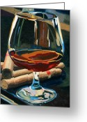 Wine Bottle Greeting Cards - Cigars and Brandy Greeting Card by Christopher Mize