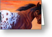 Spotted Greeting Cards - Cimarron Sunset Appaloosa Greeting Card by Theresa Paden