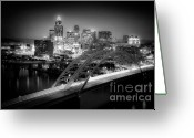 Tropical City Prints Greeting Cards - Cincinnati A New Perspective Greeting Card by Kimberly Nickoson