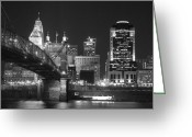 Suspension Bridge Greeting Cards - Cincinnati at Night Greeting Card by Russell Todd