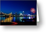 Twilight Greeting Cards - Cincinnati Boom Greeting Card by Keith Allen