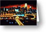 Skylines Painting Greeting Cards - Cincinnati by Black Light Greeting Card by Thomas Kolendra