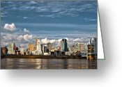 River. Clouds Greeting Cards - Cincinnati Skyline HDR Greeting Card by Keith Allen