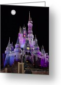 Storybook Greeting Cards - Cinderellas Castle At Night Greeting Card by Carmen Del Valle