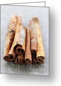 Spice Photo Greeting Cards - Cinnamon sticks Greeting Card by Elena Elisseeva