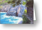 National Painting Greeting Cards - Cinque Terre Trail Italy Greeting Card by Elaine Farmer