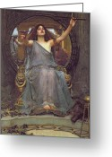 Floor Painting Greeting Cards - Circe Offering the Cup to Ulysses Greeting Card by John Williams Waterhouse