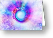Paper Digital Art Greeting Cards - Circle Eye  Greeting Card by Setsiri Silapasuwanchai