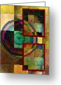 Art In Squares Greeting Cards - Circles and Squares triptych RIGHT Greeting Card by Rosy Hall