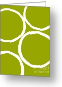 Lime Digital Art Greeting Cards - Circles Lime Green Greeting Card by Marsha Heiken