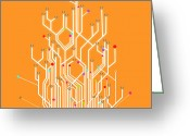 Glow Greeting Cards - Circuit Board Graphic Greeting Card by Setsiri Silapasuwanchai