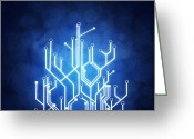 Glow Greeting Cards - Circuit Board Technology Greeting Card by Setsiri Silapasuwanchai