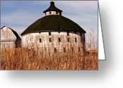 Round Barn Greeting Cards - Circular Greeting Card by Jeff Barrett