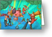 Tightrope Greeting Cards - Circus 2 Greeting Card by Autogiro Illustration