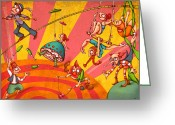 Tightrope Greeting Cards - Circus 3 Greeting Card by Autogiro Illustration