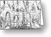 Tightrope Greeting Cards - Circus Acrobats Greeting Card by Granger
