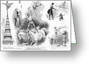 Tightrope Greeting Cards - Circus: Covent Garden Greeting Card by Granger