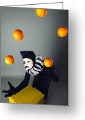 Trick Greeting Cards - Circus fashion mime juggles with five oranges. Photo. Greeting Card by Kireev Art