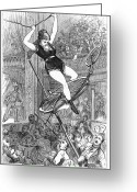 Tightrope Greeting Cards - Circus Performer Greeting Card by Granger
