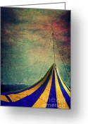 Grungy Greeting Cards - Circus with distant ships II Greeting Card by Silvia Ganora