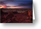 Ruin Greeting Cards - Citadel Sunset Greeting Card by Mike  Dawson
