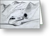 Jet Drawings Greeting Cards - Citation X  Greeting Card by Nicholas Linehan