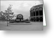 Ball Parks Greeting Cards - CITI FIELD in BLACK AND WHITE Greeting Card by Rob Hans