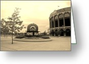 Ball Parks Greeting Cards - CITI FIELD in SEPIA Greeting Card by Rob Hans