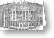 Juliana Dube Drawings Greeting Cards - Citi Field Greeting Card by Juliana Dube