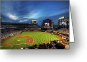Citi Field Greeting Cards - Citi Field Twilight Greeting Card by Shawn Everhart