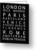 Text Map Photo Greeting Cards - Cities of Europe Greeting Card by Nomad Art And  Design