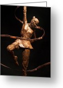 Bronze Sculpture Greeting Cards - Citius Altius Fortius Olympic Art Gymnast over Black Greeting Card by Adam Long