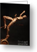 Bronze Sculpture Greeting Cards - Citius Altius Fortius Olympic Art High Jumper on Black Greeting Card by Adam Long