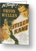 Academy Award Greeting Cards - Citizen Kane - Orson Welles Greeting Card by Nomad Art and  Design