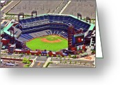Aerials Greeting Cards - Citizens Bank Park Phillies Greeting Card by Duncan Pearson