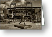Phillies Greeting Cards - Citizens Park Panoramic Greeting Card by Jack Paolini