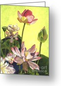 Lotus Bud Greeting Cards - Citron Lotus 1 Greeting Card by Debbie DeWitt