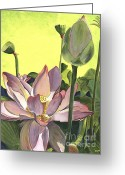 Lotus Bud Greeting Cards - Citron Lotus 2 Greeting Card by Debbie DeWitt