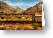 Train Car Greeting Cards - City - Arizona - Desert Train Greeting Card by Mike Savad