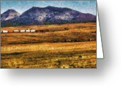 Cargo Greeting Cards - City - Arizona - Southwestern Cargo Train Greeting Card by Mike Savad