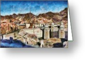 Nevada Greeting Cards - City - Nevada - Hoover Dam Greeting Card by Mike Savad
