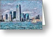 Thank You Greeting Cards - City - NY - City of the future Greeting Card by Mike Savad