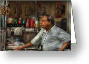 Vendor Greeting Cards - City - NY - The Pretzel Vendor Greeting Card by Mike Savad