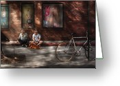 Guys Greeting Cards - City - NY - Two Guys and a Dog Greeting Card by Mike Savad