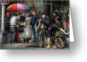 Manhattan Greeting Cards - City - NY Delancy St - Getting a snowcone  Greeting Card by Mike Savad