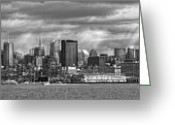 City Skylines Greeting Cards - City - Skyline - Hoboken NJ - The ever changing skyline - BW Greeting Card by Mike Savad