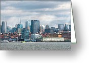 City Skylines Greeting Cards - City - Skyline - Hoboken NJ - The ever changing skyline Greeting Card by Mike Savad