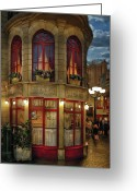 Thank You Greeting Cards - City - Vegas - Paris - Le Cafe Greeting Card by Mike Savad